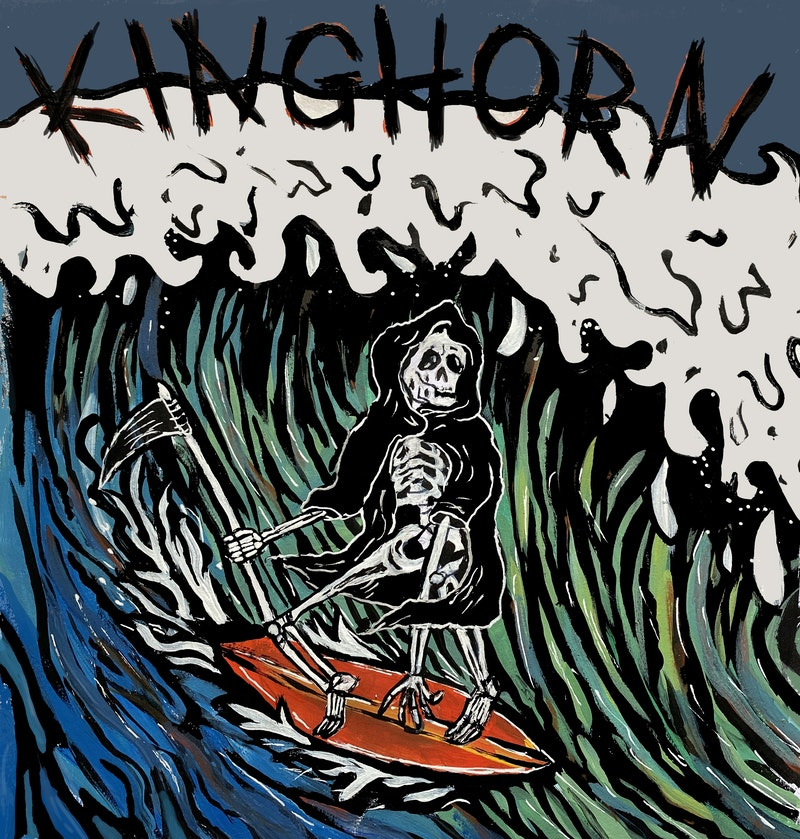 "Single cover for ""Kinghorn"", with an illustrated grim reaper riding a wave."
